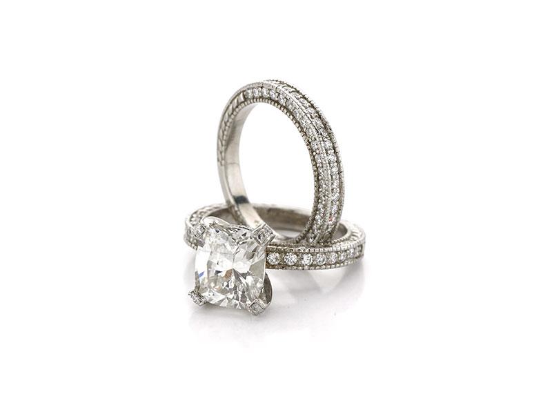 Platinum and Radiant Wedding Set