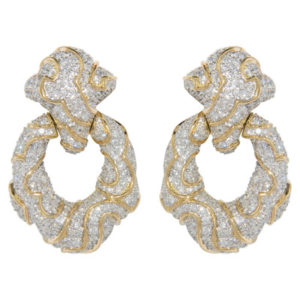 Yellow Gold Diamond Pave Earrings