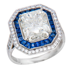 18 k WG Diamond and Sapphire ring